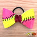 Pink/Yellow Softball Hair Bow - Customizable Mini-Thumbnail