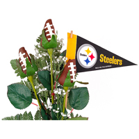 Pittsburgh Steelers Football Rose 3 Stem Arrangement - Football gift for home or office