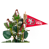 San Francisco 49ers Football Rose 3 Stem Arrangement - Football gift for home or office