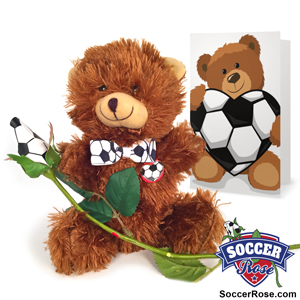Soccer rose teddy bear gift set