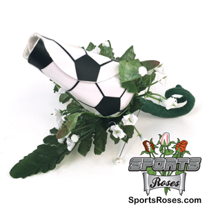 Soccer Rose Boutonnieres for Soccer themed weddings, prom, homecoming