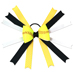 Softball Hair Bow - Black Yellow Polka Dots Mini-Thumbnail