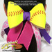 Softball Hair Bow - Yellow Blue White Chevrons Mini-Thumbnail
