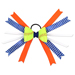 Softball Hair Bow - Orange Blue White Chevrons Mini-Thumbnail