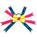Softball Hair Bow - Pink Turquoise Zebra Mini-Thumbnail