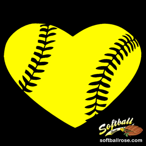 Softball Heart Decal with Personalized Player Number