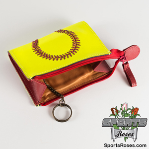 Premium Leather Softball Themed Coin Purse