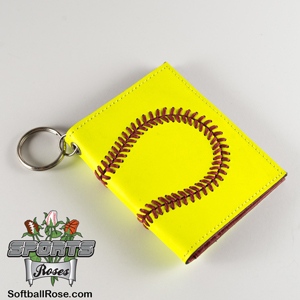 Premium Leather Softball Mini Wallet & ID Holder