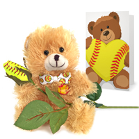 softball rose teddy bear gift set