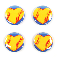 Softball Hearts Pin Back Buttons Pack