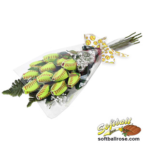 "Softball Rose ""Grand Slam"" Bouquet - 12 Softball Roses"