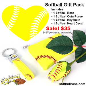 Softball Gift Pack, Softball Rose, Coin Purse, Keychain, Decal