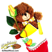 Softball Rose Stocking Stuffer Gift Set