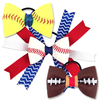 Sports Themed Hair Bows and Bow Ties Baseball Softball Football
