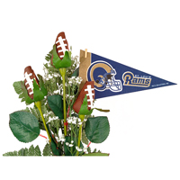 St. Louis Rams Football Rose 3 Stem Arrangement - Football gift for home or office