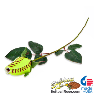 Softball Rose Long Stem - Softball Themed Gifts