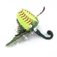 Softball Rose Boutonnieres for softball themed weddings, prom, homecoming