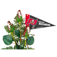 Tampa Bay Buccaneers Football Rose 3 Stem Arrangement - Football gift for home or office