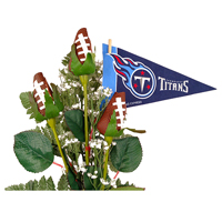 Tennessee Titans Football Rose 3 Stem Arrangement - Football gift for home or office