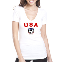 USA Soccer Heart Women's V-Neck Shirt