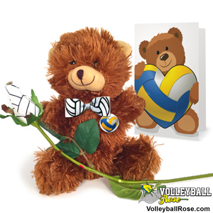 Volleyball rose teddy bear gift set
