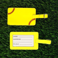 Yellow Softball Luggage Tag