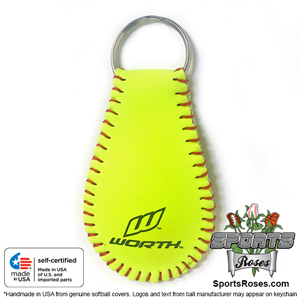 Pink and Yellow Softball Key Chain