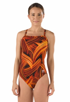 Speedo Turbo Stroke Endurance Flyback Girl's Swimsuit LARGE
