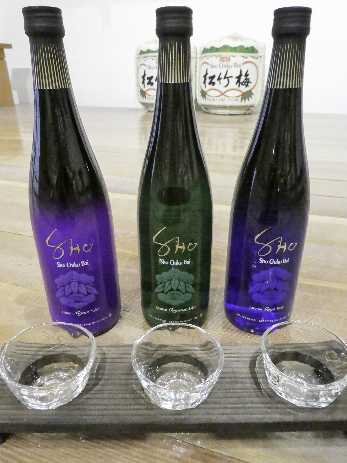 """Sho Chiku Bai SHO Tasting Flight Set"" 3 types of Sho Chiku Bai SHO and original flight glass set"