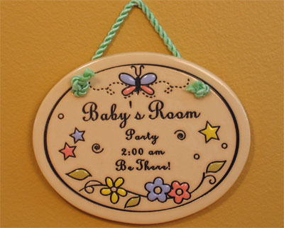 'Baby's Room Party' Ceramic Scripture Wall Hanging