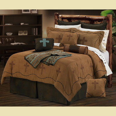 Barbwire Cross Embroidered Bedding - Dark Tan