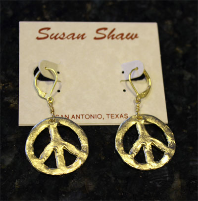 Handcast Gold Peace Sign Earrings