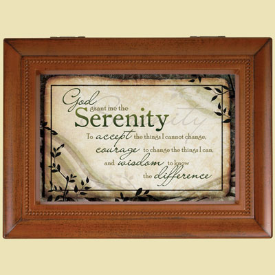 Natural Wood Music Box - Serenity Prayer