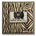 "10"" x 10"" Zebra Print on Burlap with ""The Lord is My Strength"""