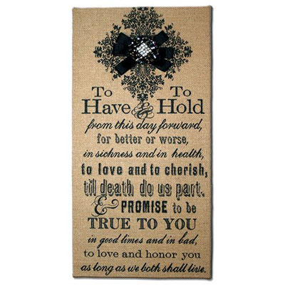 "8""x 16"" Burlap Print with Wedding Vows"