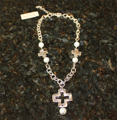 Handcast Silver Open Cross Necklace with Pearl