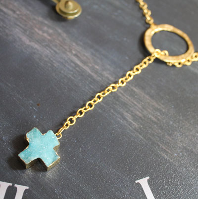 Gold Ring Lariat and Aqua Druzy Cross Necklace