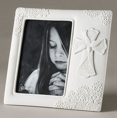"8"" Lace Confirmation Photo Frame"