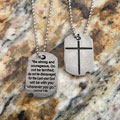 Cross Pewter Dog Tag - Joshua 1:9b