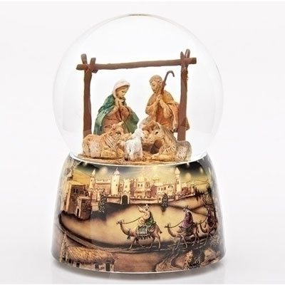 "6"" Holy Family Musical Glitterdome - Plays Away in a Manger - FontaninI"
