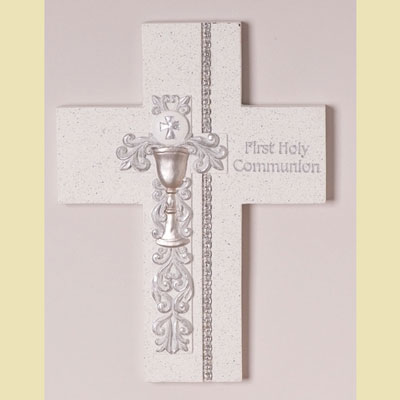 Silver Scroll & Chalice First Communion Cross