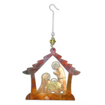 Stable Nativity Christmas Ornament