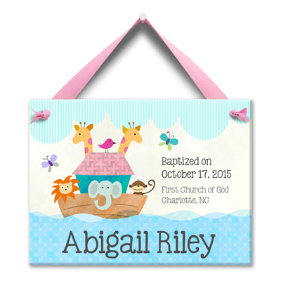 Personalized Noah Ark Birth Tile for Girl