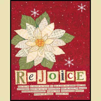 Rejoice Poinsettia Mounted Print