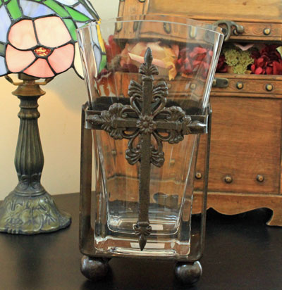 Wrought Iron Baby Slim Vase with Cross