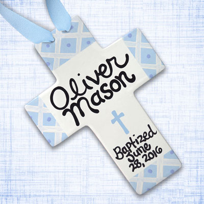 Personalized Blue Squares Baby Baptism Cross - 10""