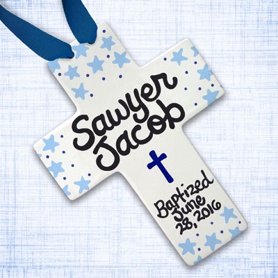 Personalized Blue Stars Baby Baptism Cross - 10""