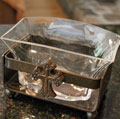 Wrought Iron & Glass Boat Serving Dish/Vase Mini-Thumbnail