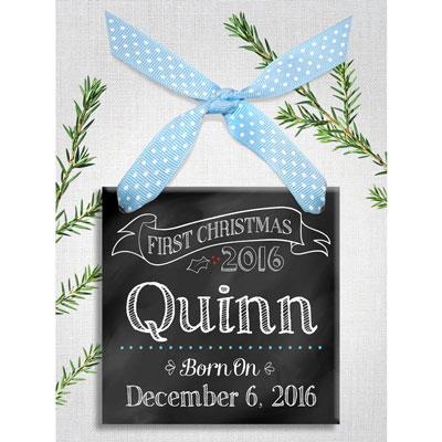 Baby Boy First Christmas Personalized Chalk Ornament