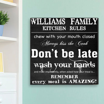 Kitchen Rules Personalized Canvas